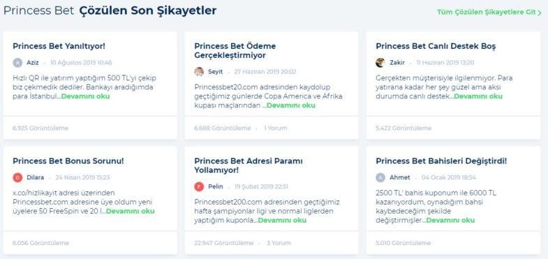 PrincessBet Çözülen Son Şikayetler