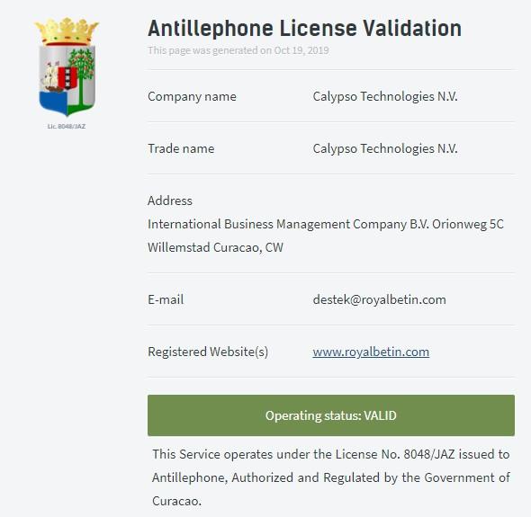 Royalbetin lisans durumu: Aktif ✔️