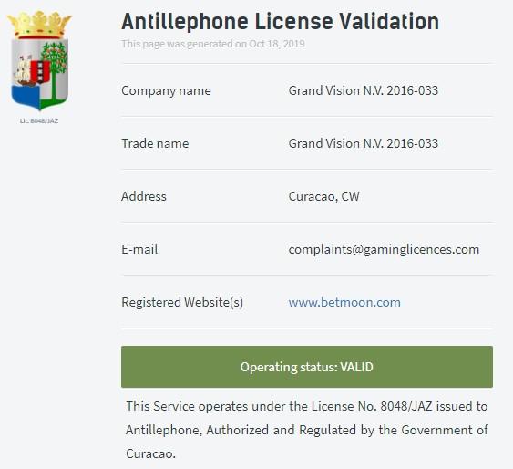 Betmoon lisans giriş kontrolü