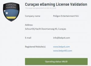 Betpot lisans bilgileri aktif görünüyor